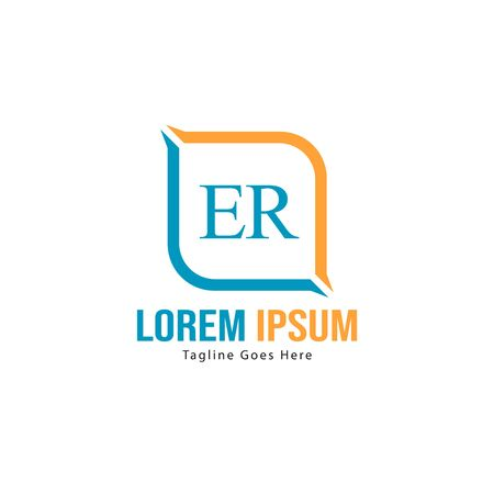 Initial ER logo template with modern frame. Minimalist ER letter logo vector illustration