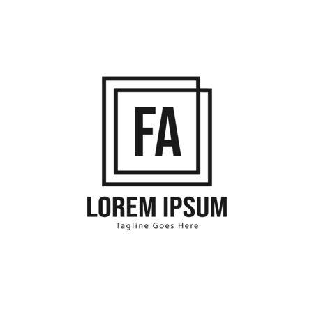 Initial FA logo template with modern frame. Minimalist FA letter logo vector illustration