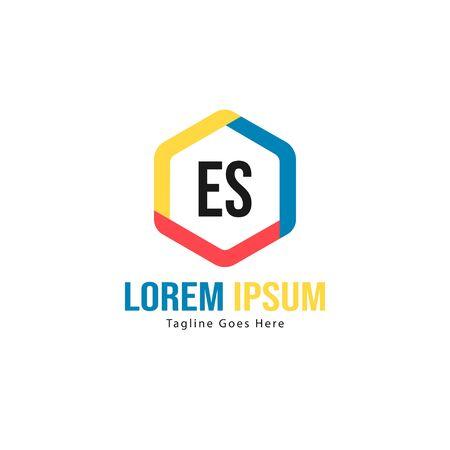 Initial ES logo template with modern frame. Minimalist ES letter logo vector illustration