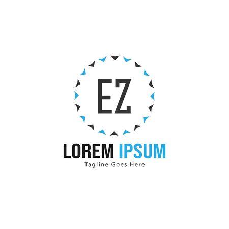 Initiale EZ-Logo-Vorlage mit modernem Rahmen. Minimalistische EZ-Brief-Logo-Vektor-Illustration