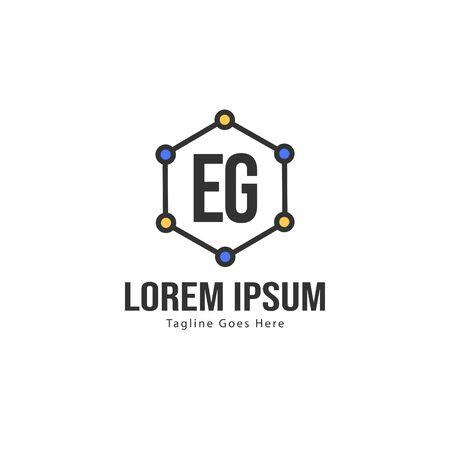 Initial EG logo template with modern frame. Minimalist EG letter logo vector illustration Banco de Imagens - 129891170