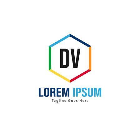 Initial DV logo template with modern frame. Minimalist DV letter logo vector illustration Logó