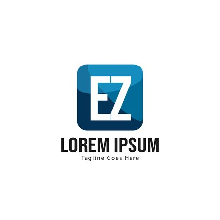 Initiale EZ-Logo-Vorlage mit modernem Rahmen. Minimalistische EZ-Brief-Logo-Vektor-Illustration Logo
