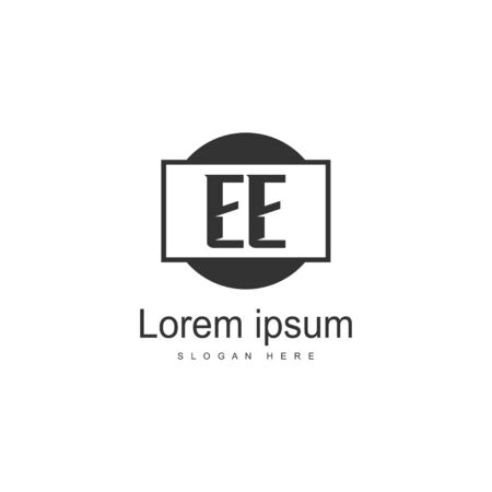 Initial EE logo template with modern frame. Minimalist EE letter logo vector illustration
