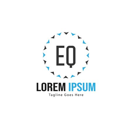 Initial EQ logo template with modern frame. Minimalist EQ letter logo vector illustration