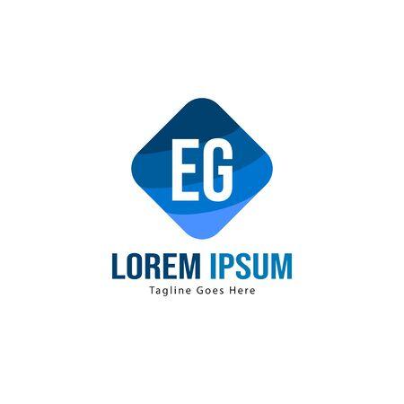 Initial EG logo template with modern frame. Minimalist EG letter logo vector illustration