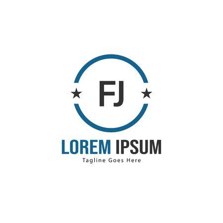 Initial FJ logo template with modern frame. Minimalist FJ letter logo vector illustration 일러스트