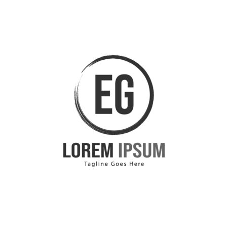 Initial EG logo template with modern frame. Minimalist EG letter logo vector illustration