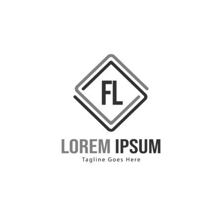 Initial FL logo template with modern frame. Minimalist FL letter logo vector illustration Logo