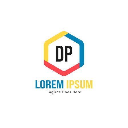 Initial DP logo template with modern frame. Minimalist DP letter logo vector illustration