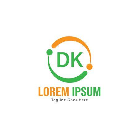Initial DK logo template with modern frame. Minimalist DK letter logo vector illustration