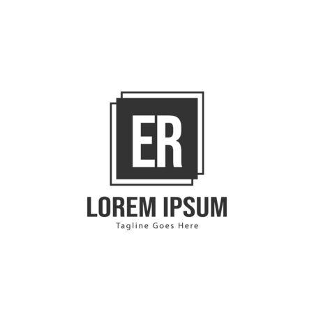 Initial ER logo template with modern frame. Minimalist ER letter logo vector illustration Logó