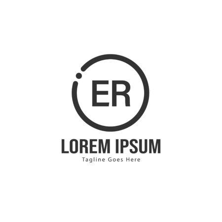 Initial ER logo template with modern frame. Minimalist ER letter logo vector illustration Illustration