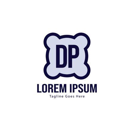 Initial DP logo template with modern frame. Minimalist DP letter logo vector illustration Logo