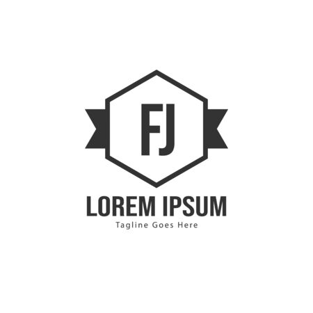 Initial FJ logo template with modern frame. Minimalist FJ letter logo vector illustration