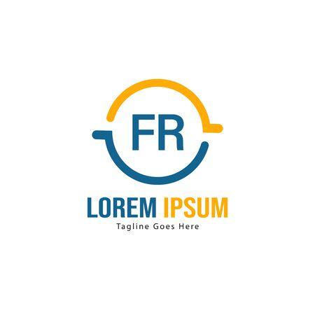 Initial FR logo template with modern frame. Minimalist FR letter logo vector illustration Logo