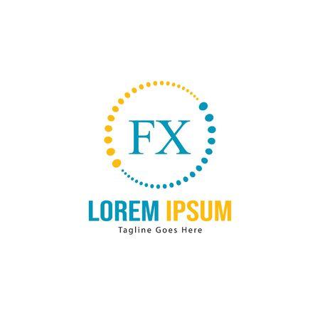 Initial FX logo template with modern frame. Minimalist FX letter logo vector illustration