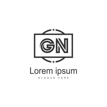 Wstępny szablon logo GN z nowoczesną ramką. Minimalistyczna ilustracja wektorowa logo GN list Logo