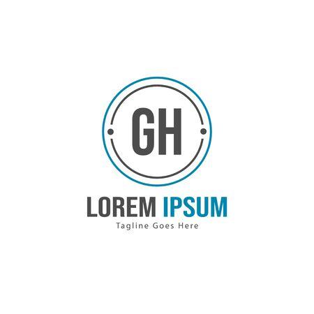 Initial GH logo template with modern frame. Minimalist GH letter logo vector illustration