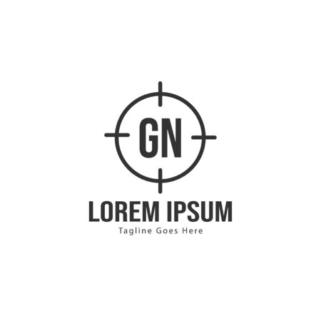 Initial GN logo template with modern frame. Minimalist GN letter logo vector illustration