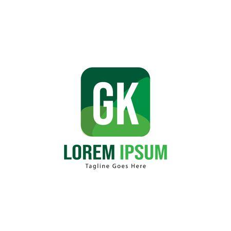 Initial GK logo template with modern frame. Minimalist GK letter logo vector illustration