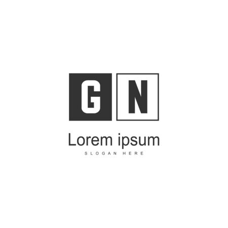Initial GN logo template with modern frame. Minimalist GN letter logo vector illustration Logó