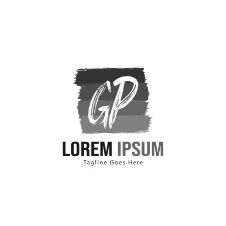 Initial GP logo template with modern frame. Minimalist GP letter logo vector illustration Logó
