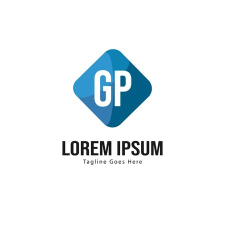 Initial GP logo template with modern frame. Minimalist GP letter logo vector illustration