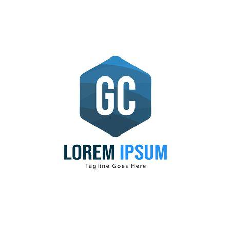 Initial GC logo template with modern frame. Minimalist GC letter logo vector illustration Logo
