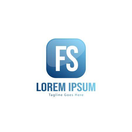 Initial FS logo template with modern frame. Minimalist FS letter logo vector illustration