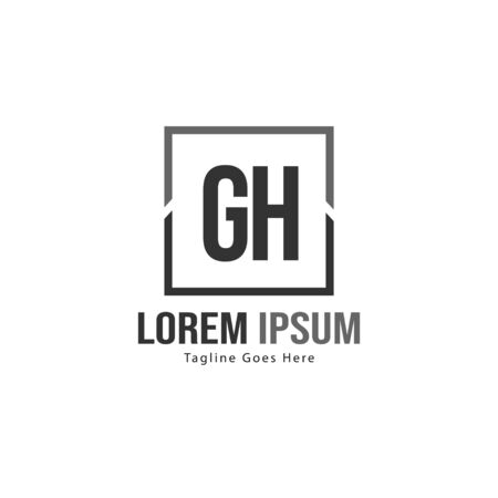 Initial GH logo template with modern frame. Minimalist GH letter logo vector illustration