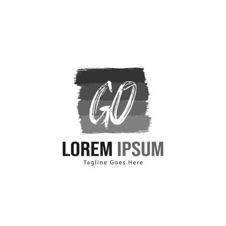 Initial GO logo template with modern frame. Minimalist GO letter logo vector illustration