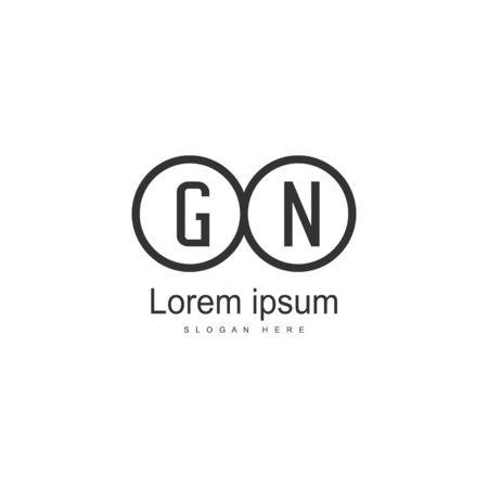 Initial GN logo template with modern frame. Minimalist GN letter logo vector illustration Illusztráció