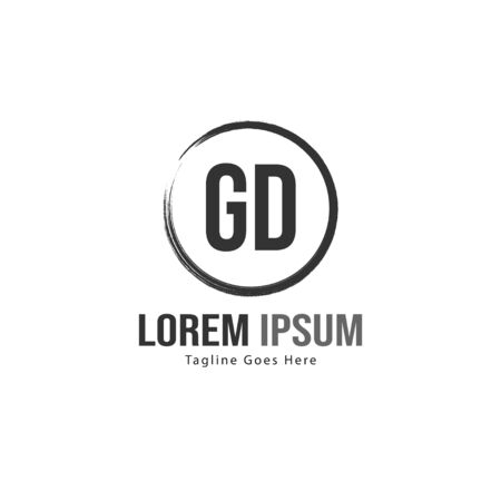 Initial GD logo template with modern frame. Minimalist GD letter logo vector illustration Stockfoto - 129171156