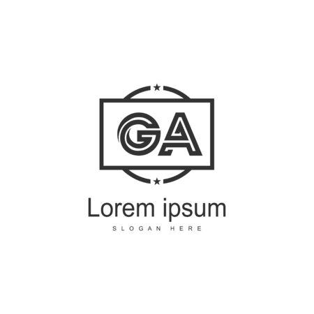 Początkowy szablon logo GA z nowoczesną ramką. Minimalistyczna ilustracja wektorowa logo litery GA Logo