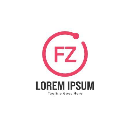 Initial FZ logo template with modern frame. Minimalist FZ letter logo vector illustration