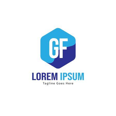 Initial GF logo template with modern frame. Minimalist GF letter logo vector illustration