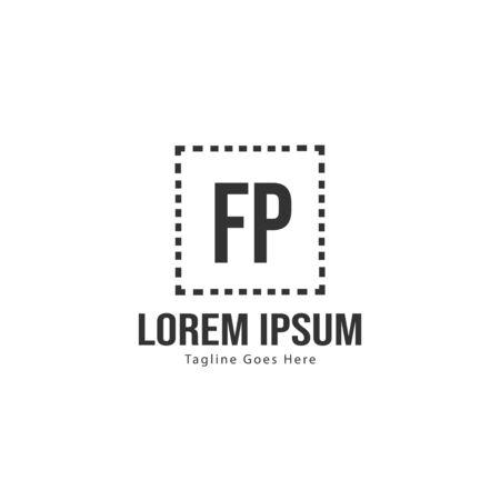Initial FP logo template with modern frame. Minimalist FP letter logo vector illustration
