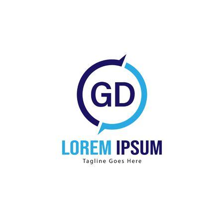 Initial GD logo template with modern frame. Minimalist GD letter logo vector illustration Ilustrace