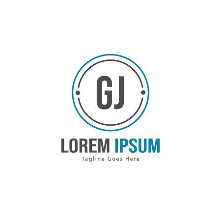 Initial GJ logo template with modern frame. Minimalist GJ letter logo vector illustration