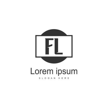 Initial FL logo template with modern frame. Minimalist FL letter logo vector illustration