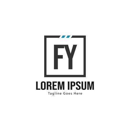 Initial FY logo template with modern frame. Minimalist FY letter logo vector illustration