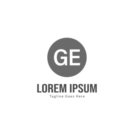 Initial GE logo template with modern frame. Minimalist GE letter logo vector illustration