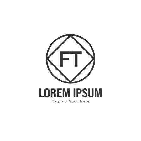Initial FT logo template with modern frame. Minimalist FT letter logo vector illustration