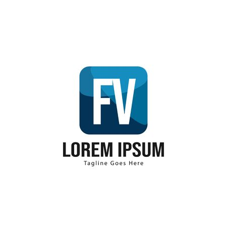 Initial FV logo template with modern frame. Minimalist FV letter logo vector illustration