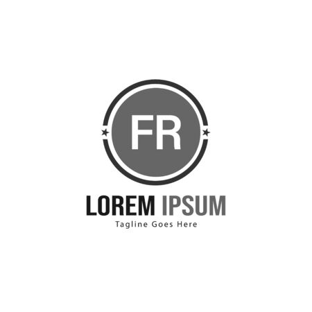 Initial FR logo template with modern frame. Minimalist FR letter logo vector illustration