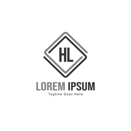 Initial HL logo template with modern frame. Minimalist HL letter logo vector illustration