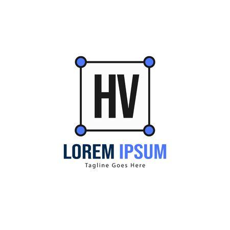 Initial HV logo template with modern frame. Minimalist HV letter logo vector illustration