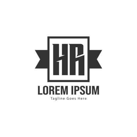 Initial HR logo template with modern frame. Minimalist HR letter logo vector illustration Logó