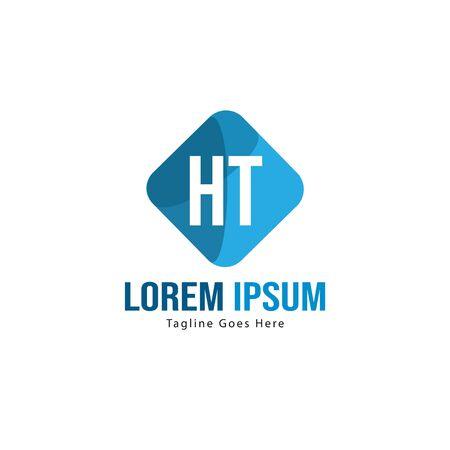 Initial HT logo template with modern frame. Minimalist HT letter logo vector illustration